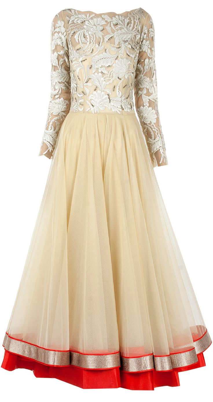 Ivory floral motifs anarkali available only at Pernia's Pop-Up Shop.
