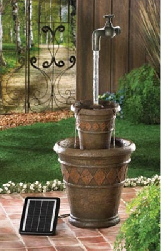 Outdoor Solar And Electric Powered Water Fountain Jug