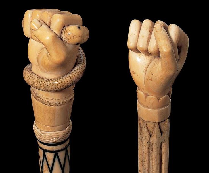 Wooden wlking sticks closed fist