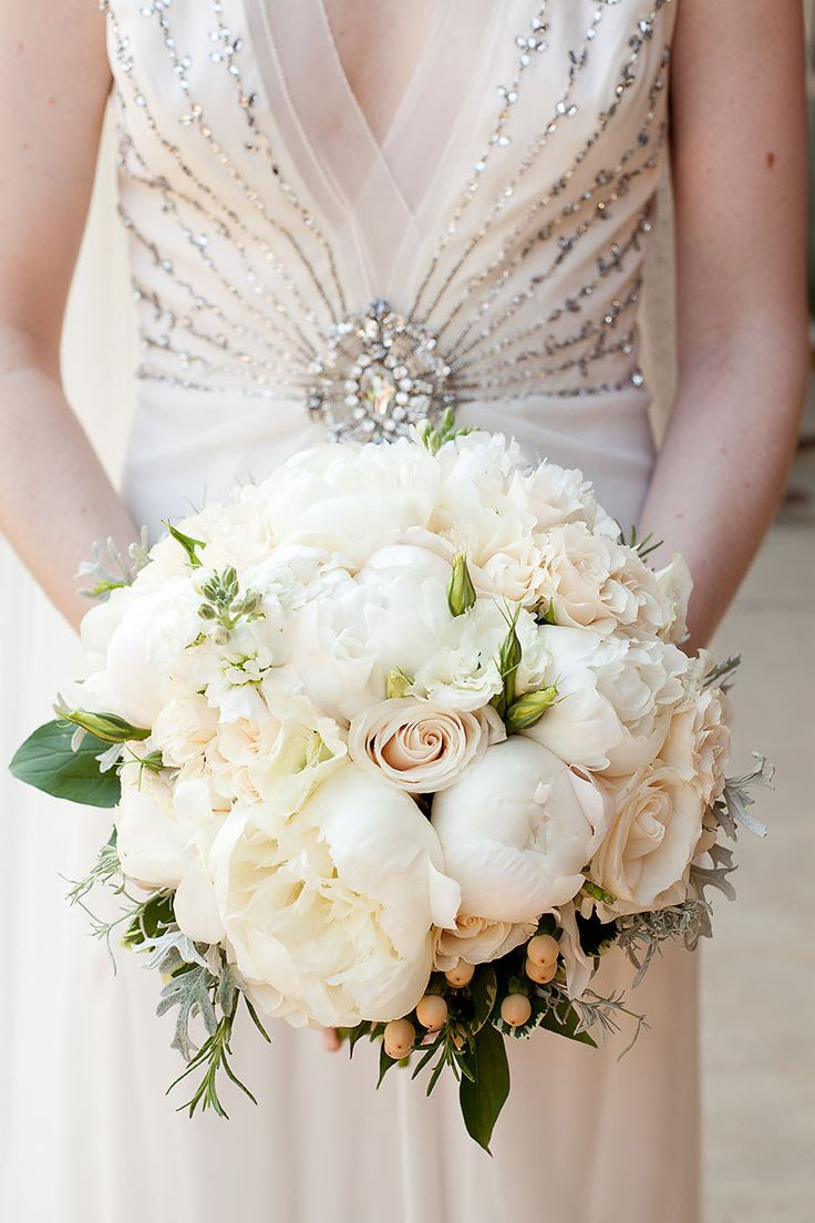 Blush Pink Rose & White Peony Bouquet - On SMP: http://www.StyleMePretty.com/2012/10/22/chapel-hill-wedding-from-a-southern-soiree/ Floral Design: TreBellaFlowers.com || Robin Lin Photography - robinlin.com/blog
