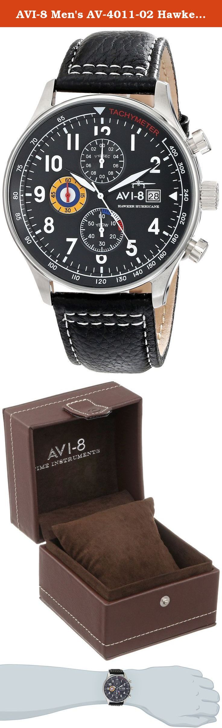 AVI-8 Men's AV-4011-02 Hawker Hurricane Stainless Steel Watch with Black Leather Band. Inspired by the unsung hero of the Battle of Britain, AVI-8 created the AV-4011 Hawker Hurricane Watch after that reliable Air Force fighter aircraft. The stainless steel housing material rests on a durable leather strap, which creates a rustic, timeless look. Mineral crystal displays the Japanese quartz analog movement and date indicator, and it securely closes with a buckle. This watch is also...