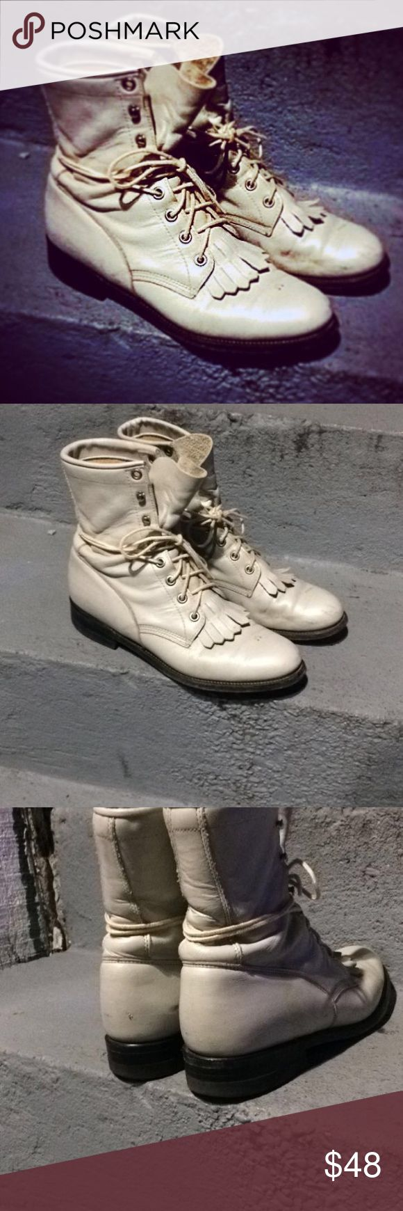 100% genuine leather vintage Justin boots! Vintage Justin brand roper boots in white are available in a women's size 6 1/2. They're in good vintage condition, with only a few minor scuffs as shown in the photos. These boots have been well loved and are ready to find a new awesome home! Feel free to ask me any questions & thanks for shopping my closet! Vintage Shoes Lace Up Boots