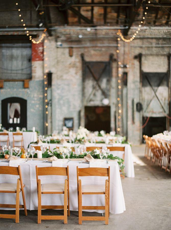 Industrial-chic reception: http://www.stylemepretty.com/2016/06/29/eclectic-warehouse-wedding-at-basilica-hudson/   Photography: Kate Ignatowski - http://www.kateignatowski.com/
