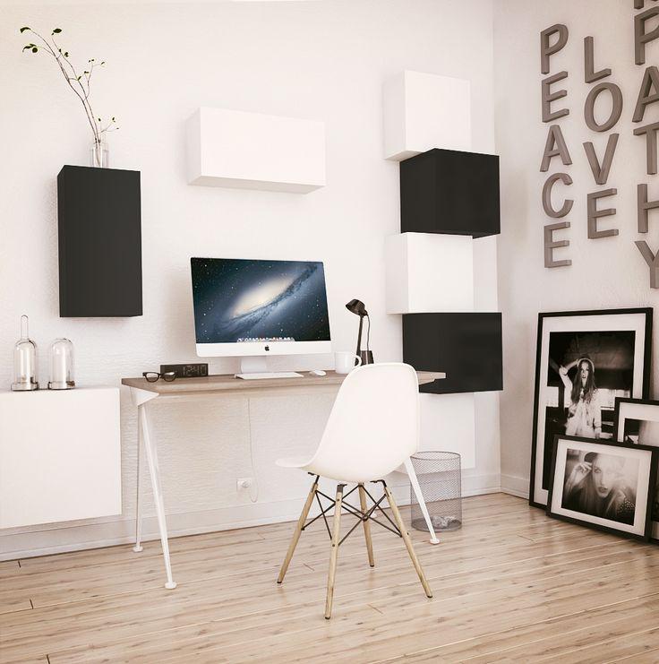 Black & White Home Office //TETREES// #modular #furniture