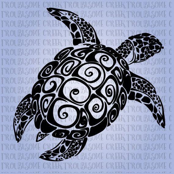 черепаха силуэт из винила интерьер Tribal Turtle Instant Download SVG by TroublesomeCreekSVG on Etsy