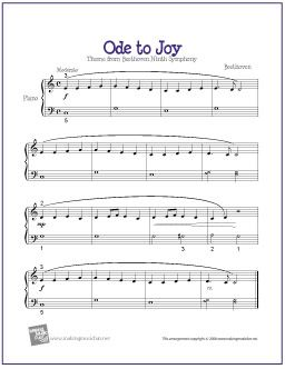 Ode to Joy by Ludwig van Beethoven  for Easy/Level 2 Piano Solo