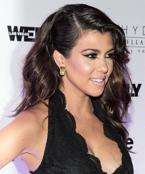 Kourtney Kardashian Hairstyle - Formal Long Straight. Click on the image to try on this hairstyle! Find us on facebook to read about hairstyling news and articles. https://www.facebook.com/TheHairStylercom