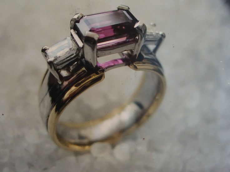 Rhodalite garnet and square baguette diamond ring in yellow and white gold