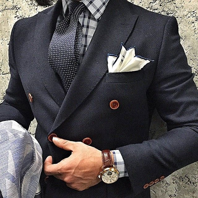 plaid and polka dots, bold! nice if you can pull it off.