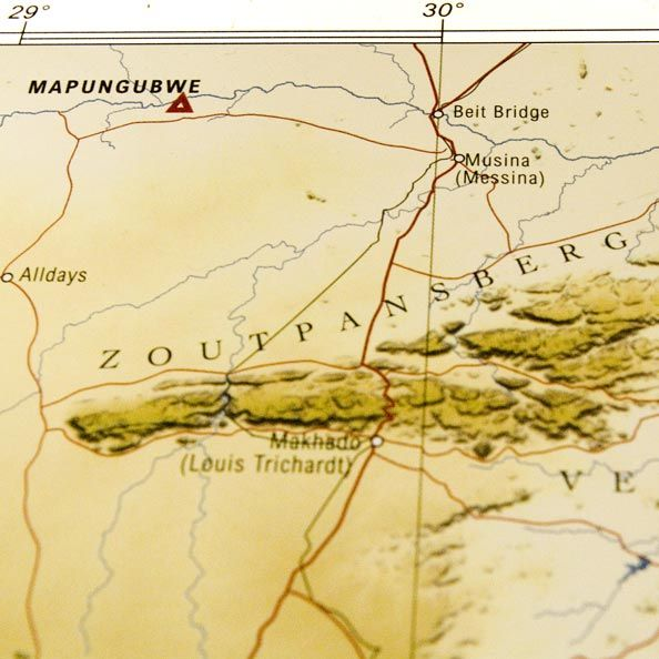 Detail from South Africa map: place of real magic
