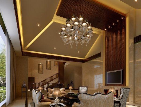 Decken Abhngen Innenausbau Ideen Wohnzimmer Beleuchtung Kronleuchter