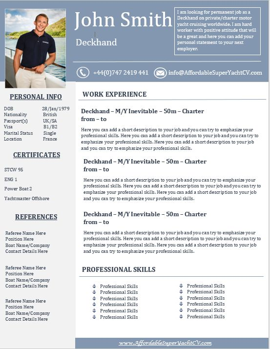 superyacht resume templates