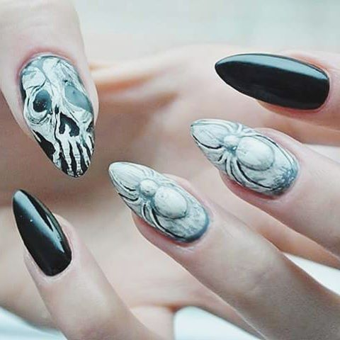 Udanego Halloween! :*  #halloween #halloween2015 #scary #nailsforever #nailart #manicure #hybryda #spider #nailart3d #skulls #blackandwhite #odetteswan #tutorial #newvideo #instanails #nails4instagram #nailspiration #trickortreat