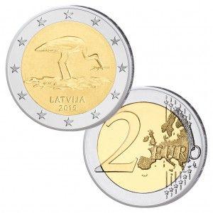 Lettland 2 Euro Gedenkmünze 2015 Schwarzstorch