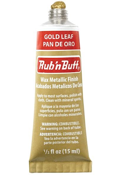 rub and buff gold leaf metallic finish - see Laurel Bern blog.   Rub 'n buff is exactly what it says. You dab it on with a paper towel and rub it in/off to get the effect that you want with a paper towel.  My two favorite shades of gold are Gold Leaf and Grecian Gold