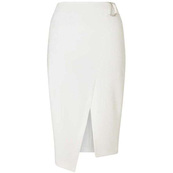 Miss Selfridge White Wrap D-Ring Pencil Skirt ($68) ❤ liked on Polyvore featuring skirts, white, party skirts, wrap skirt, going out skirts, pencil skirt and white knee length skirt