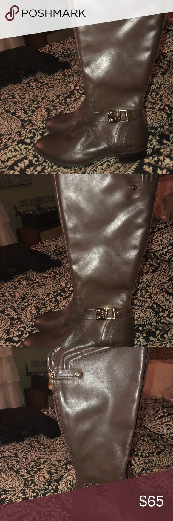 """Anne Klein Kaydon Wide Calf Riding Boots 7.5 Wanted to try a new style of boots, felt like I had nothing that looked right with them. never worn   From website: Leather Synthetic sole Shaft measures approximately 16"""" from arch The style name is Kaydon. The style number is 25014356-0KN. Brand Color: Dk Brn (Main Color: Brown) Material: Leather Measurements: Shaft measures 16"""", Circumference measures 16"""" and 1"""" heel Width: B(M) Anne Klein Shoes Heeled Boots"""