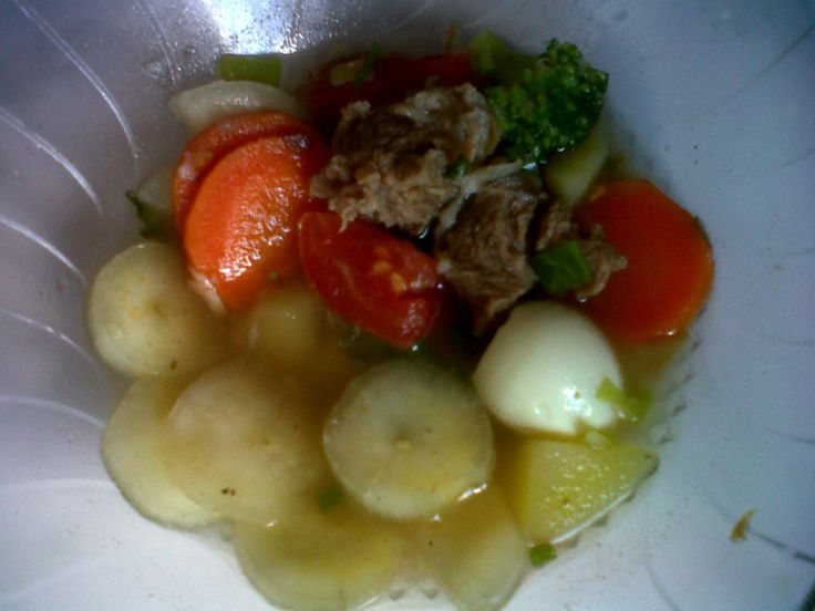 Homemade Beef stew with boiled cassava
