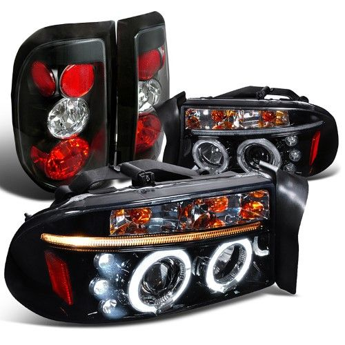 Spec D Tuning For 1997 2004 Dodge Dakota Glossy Black Led Halo Projector Headlights Tail Lights Left Right 1997 1998 2000 2001 2002 2003 2004 Projector Headlights Led Halos Dodge Dakota