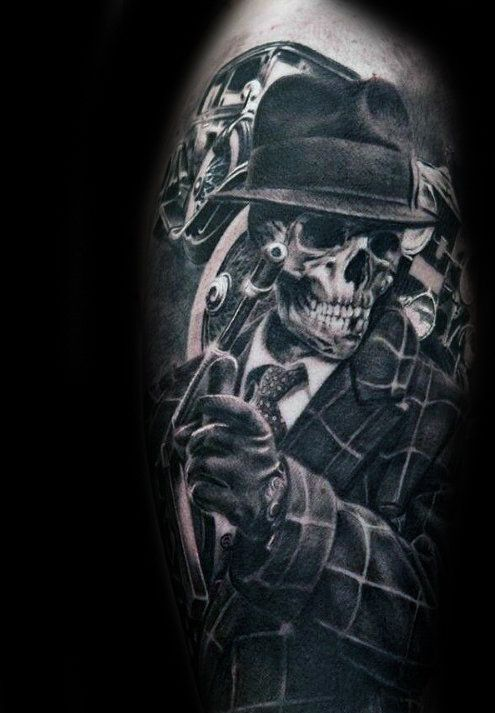 50 gangster tattoos for men mobster design ideas pinterest gangsters tattoo and gangster. Black Bedroom Furniture Sets. Home Design Ideas