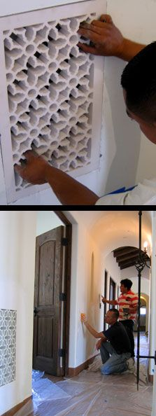 Spanish Revival Grilles changing out the normal ceiling vent for something more to the style of the home