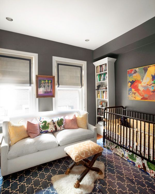 I love how unconventional this nursery isWall Colors, Ideas, Couch, Nurseries, Gray Walls, Grey Wall, Baby Room, Baby Boy, Babies Rooms