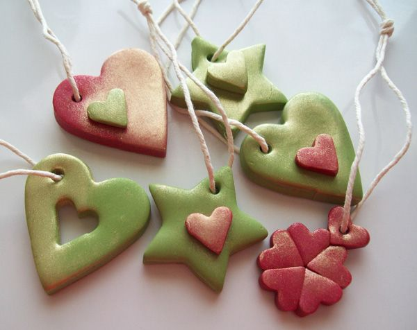 Polymer Clay Tree Ornaments coloured with pigments