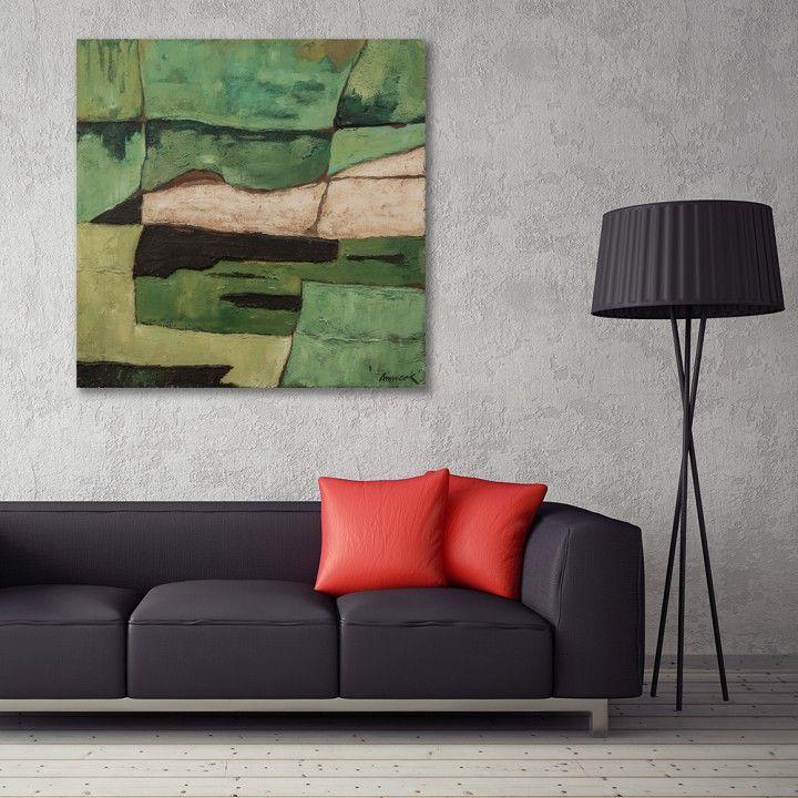 Zielone pola, Obraz na płótnie - Canvas