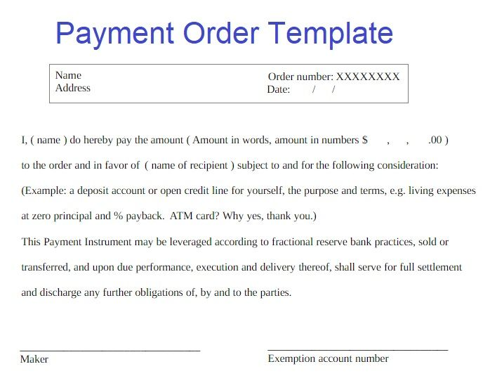 2 Payment Order Templates Templates Printable Free Templates