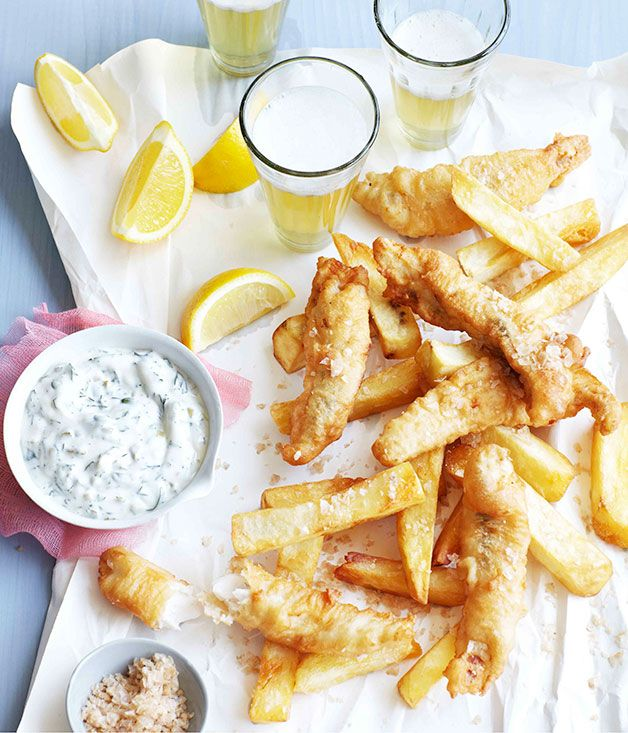 Beer battered flathead with salt and vinegar chips for Fish and chips vinegar