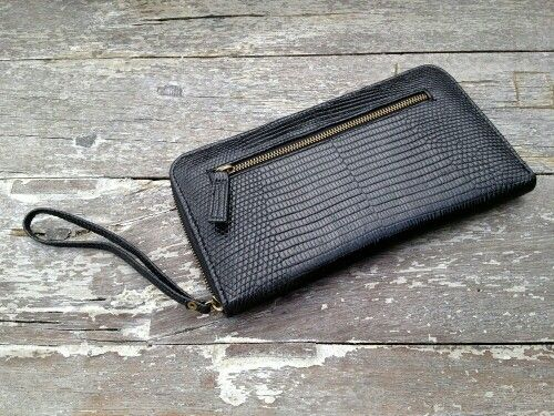 Black lizard varan wallet handmade style leather
