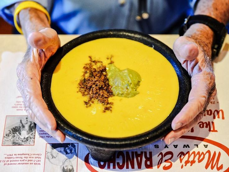 A bowl of queso heaped with taco meat and guacamole at Matt's Famous El Rancho, 2613 South Lamar Boulevard, Austin. 512 462 9333