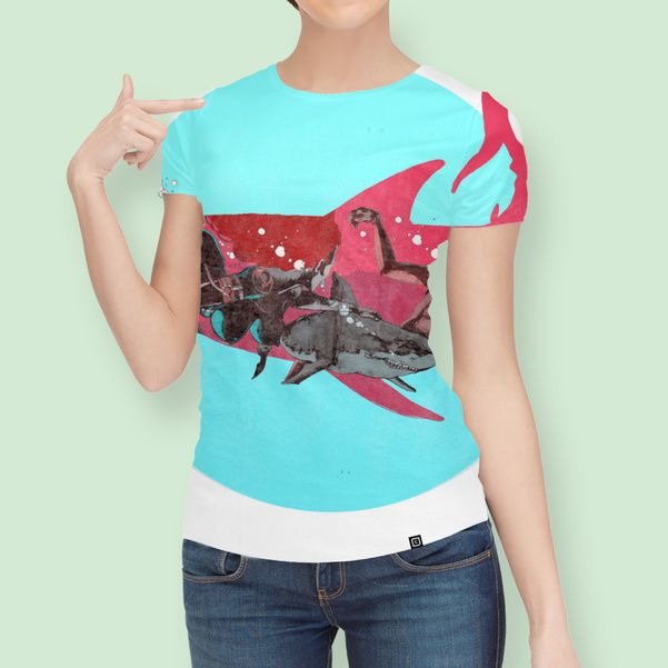Discover «Shark-Hunter-C», Limited Edition Women's All Over T-Shirt by VICTOR ABARCA LIZANA - From $49 - Curioos