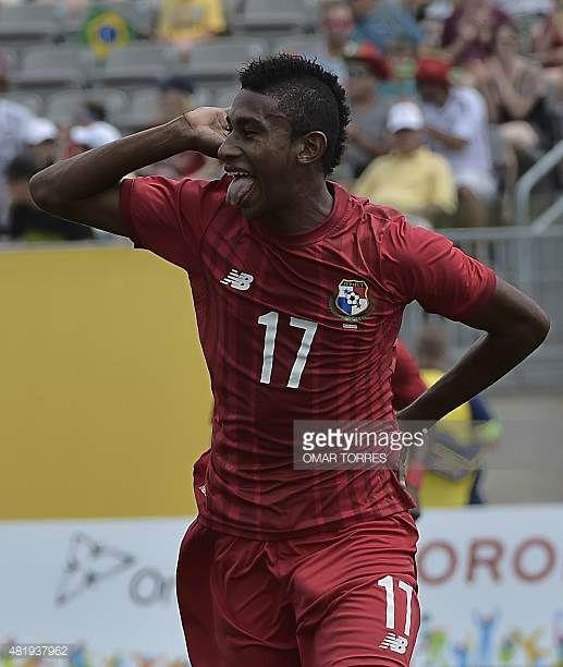 Josiel Nunez of Panama celebrates after scoring against Brazil during the bronze medal football match of the Pan American Games in Hamilton Canada on...