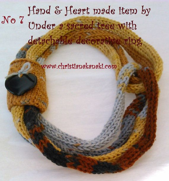 Hand & Heart knitted necklace with detachable decorative ring with heart motif by Underasacredtree