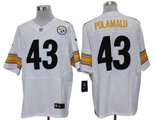 Nike Steelers #43 Troy Polamalu White Mens NFL Elite Jersey