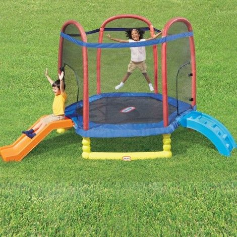 A trampoline birthday party will give your tikes and their friends hours of active fun. They'll love climbing, sliding, and jumping with their friends with the Little Tikes Climb 'n Slide Trampoline.