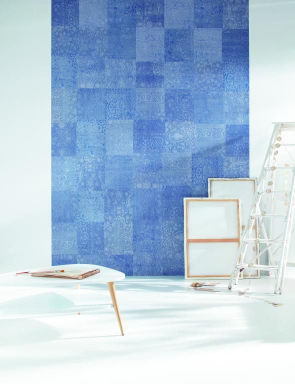 In fresh shades of blue this wallpaper mural cleverly resembles a patchwork floor rug. From the Trendy Panels collection, Patchwork TDP63716161. This is a Guthrie Bowron exclusive range in NZ.