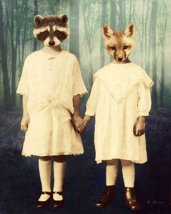 """Volpe procione Art Print, animali dei boschi, Mixed Media Collage, antropomorfo, bambini, Vintage vittoriano fotografia, """"Siamo nella foresta"""""""