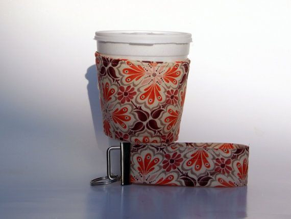 Brown and Orange Coffee Cup Cozy and Matching by QuiltsbyLaTanya