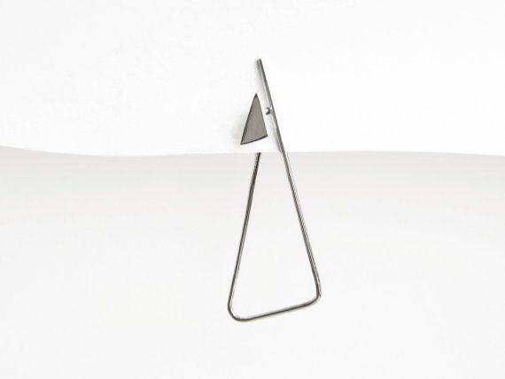 Sterling Silver Triangle Hoop Post Earrings Modern Minimal