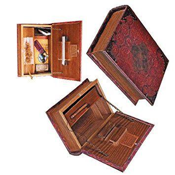 PI Unique Mini - Original Kavatza Mini Secret Rolling Stash Book Box - Wooden Stash Box Like Antique Book (Small 18.5 x 13cm)