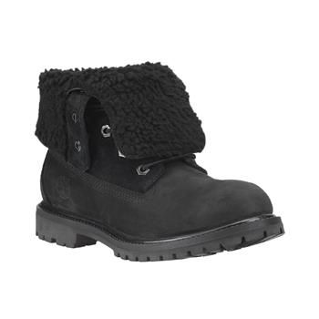 Boots fourrées noires Timberland Femme - Authentics Teddy Fleece WP Fold Down Femme - Black Nubuck