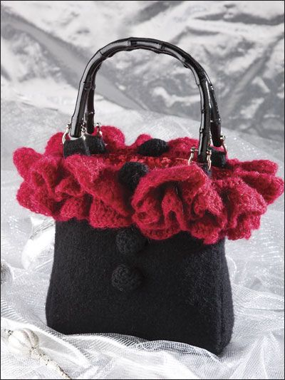 Knit Pattern Ruffle Bag : 17 Best images about bags, purses & co to knit or crochet on Pinterest ...