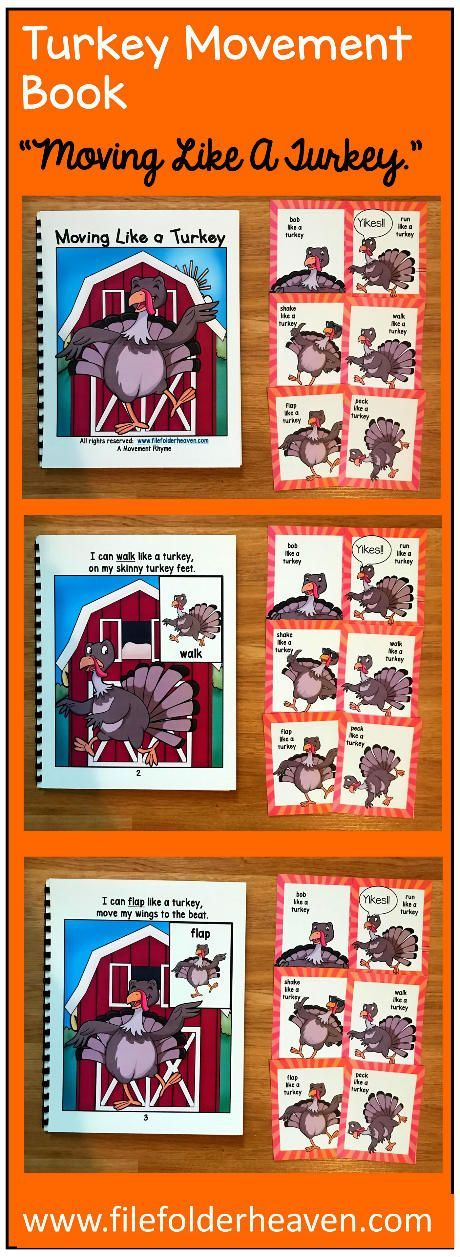 These Turkey Themed Movement Cards (And Book!) get your students moving and help them improve gross motor skills/ and motor planning skills, following directions skills and imitation skills. There are so many ways to use this book and associated cards.