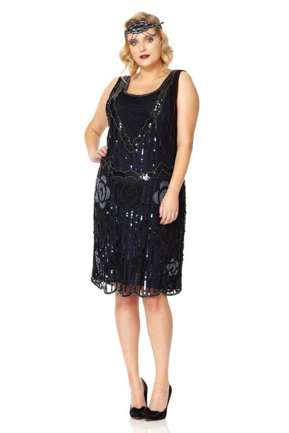 Uk26 Us22 Aus26 Audrey Black Navy Plus Size Vintage By
