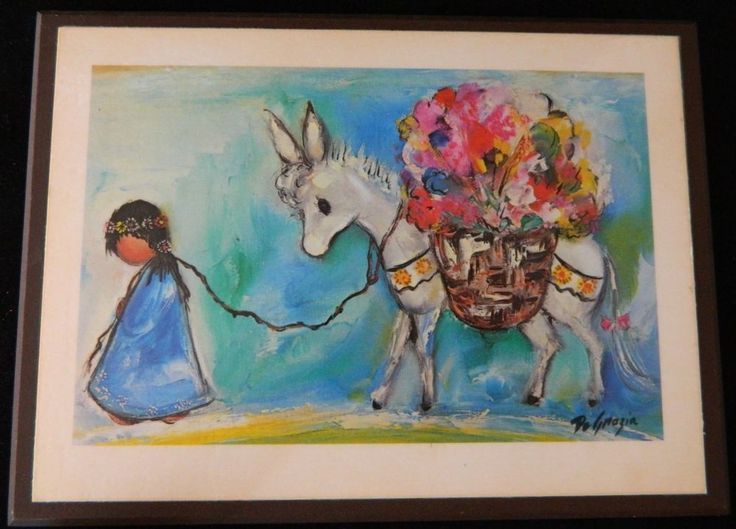 Vintage Degrazia Print On Wood Plaque Girl With Donkey