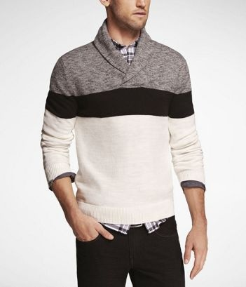 COLOR BLOCK SHAWL COLLAR SWEATER at Express. I really love this