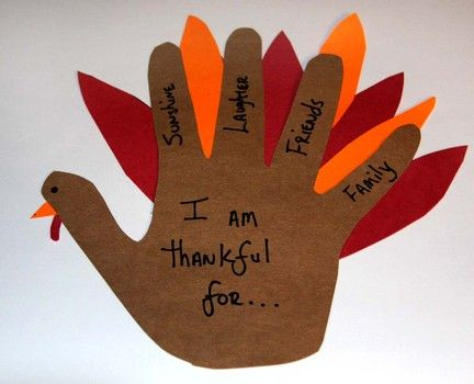 I am thankful for... I like the idea of feathers behind the fingers