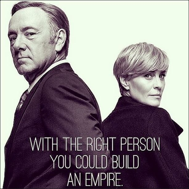 "A Powerful Partnership.  Frank Underwood is the definition of ""Strategic.""  He maneuvers the political chessboard thinking multiple moves ahead and putting his pieces and allies in places to protect himself, the ""king."""